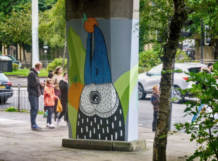 """STALK"" series of murals by Little Book Transfers, on Charing Cross pedestrian bridge pillars"