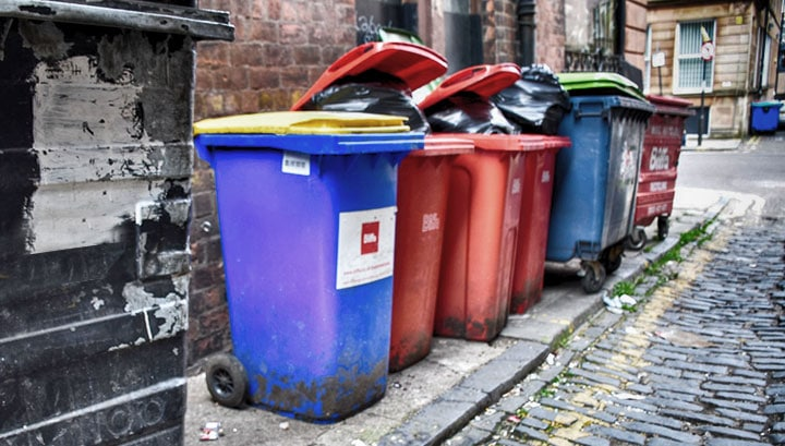Glasgow City Centre - bins in a lane