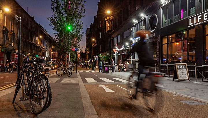 CYCLING IN GLASGOW CITY CENTRE INCREASES